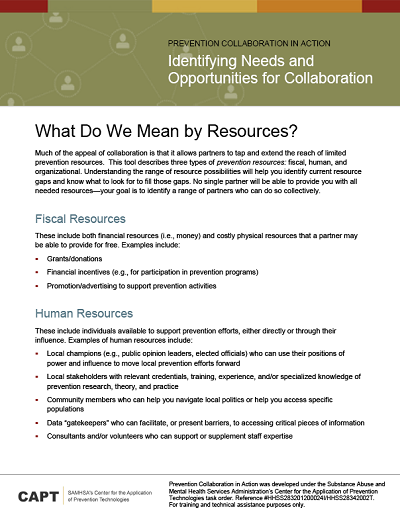 What Do We Mean by Resources – Minnesota Prevention Resource